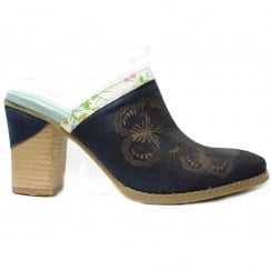 Dalton 06 Navy Embroided Patterned Leather Womens Heeled Slip On Mules Shoe