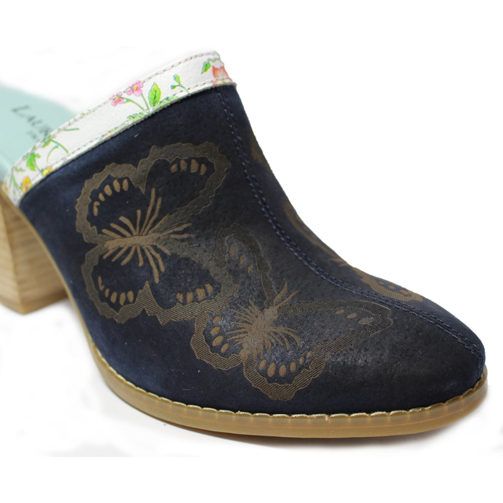 Navy Embroidered Block Heel Shoes Uk