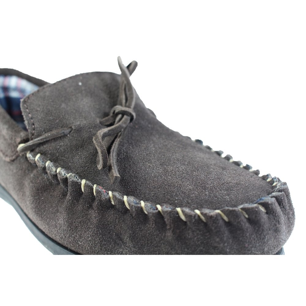 168df7501fee1 Mens Lunar Vienna Brown Suede Leather Mens Slip On Moccasin Slippers ...