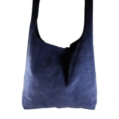 Large Slouch Suede Leather Magnetic Clasp Handbag