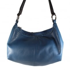 Otto Blue Leather Double Zip Up Handbag