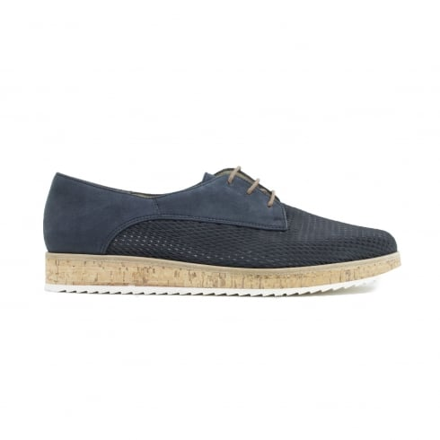 Paul Green 1069-01 Navy Nubuck Leather Womens Lace Up Shoe
