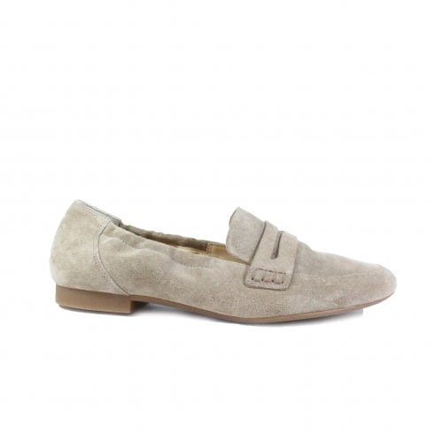 Paul Green 1070-01 Antelope Beige Suede Leather Womens Slip On Loafer Shoe