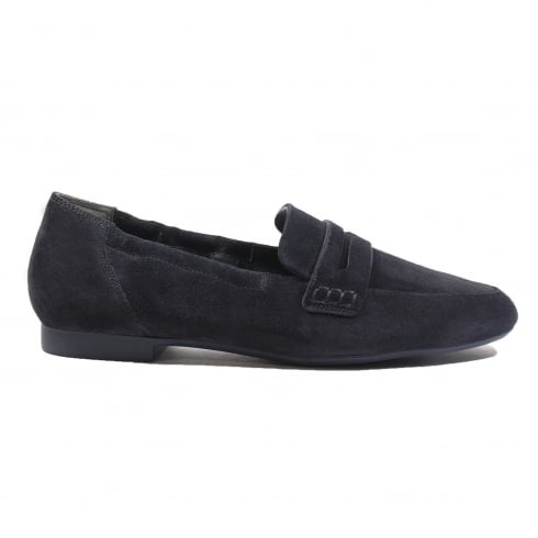 Paul Green 1070-11 Navy Suede Leather Womens Slip On Loafer Shoe
