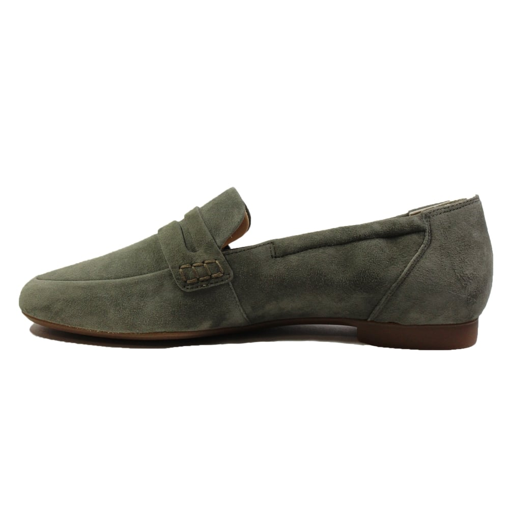 29745ee5076 ... Paul Green 1070-13 Olive Green Suede Leather Womens Slip On Loafer Shoe  ...