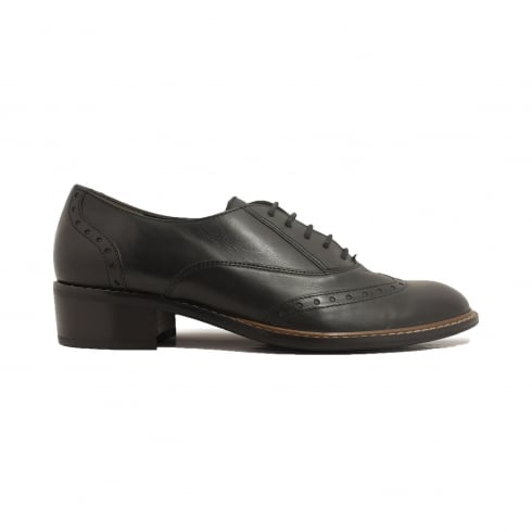 Paul Green 1436-00 Black Leather Womens Lace Up Brogue Shoe