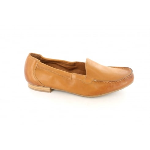PAUL GREEN 1585-03 Tan Leather Womens Slip On Loafer Shoe