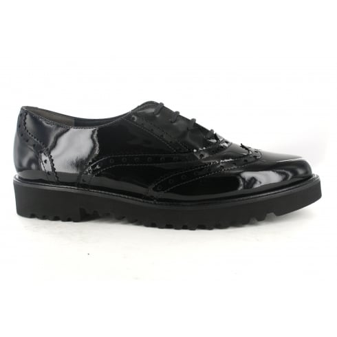 Paul Green 1702-00 Black Patent Leather Womens Lace Up Brogue Shoe