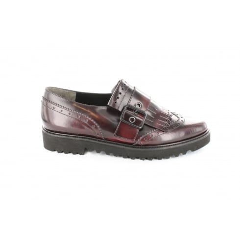 Paul Green 1711-04 Burgundy Leather Womens Brogue Loafer Shoe