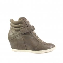1734-50 Grey Leather Womens Wedge Lace Up Casual Boot