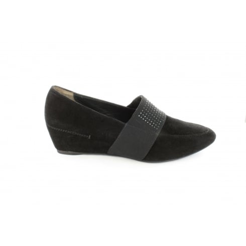 Paul Green 1791-00 Black Suede Leather Womens Slip On Wedge Shoe