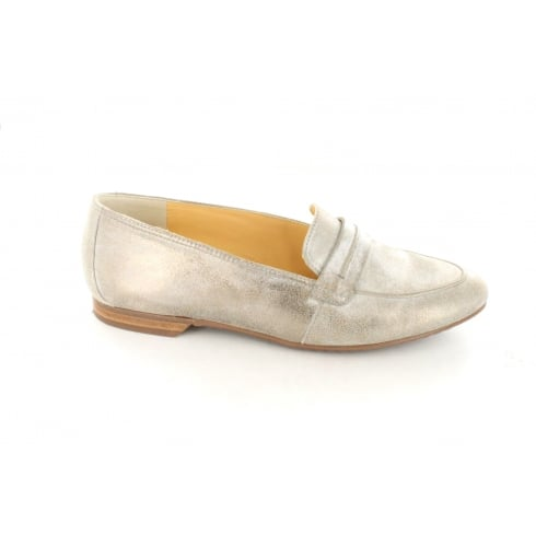 1922-04 Smoke Grey Leather Womens Slip On Loafer Shoe
