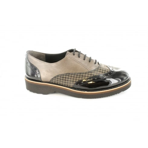 Paul Green 1947-07 Patent/Smooth/Check Leather Womens Lace Up Brogue Shoe