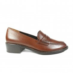 2148-08 Brown Leather Womens Slip On Loafer Shoe