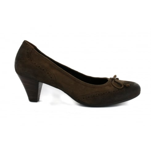 PAUL GREEN 2668-43 Brown Suede Leather Womens Slip On Heeled Court Shoe