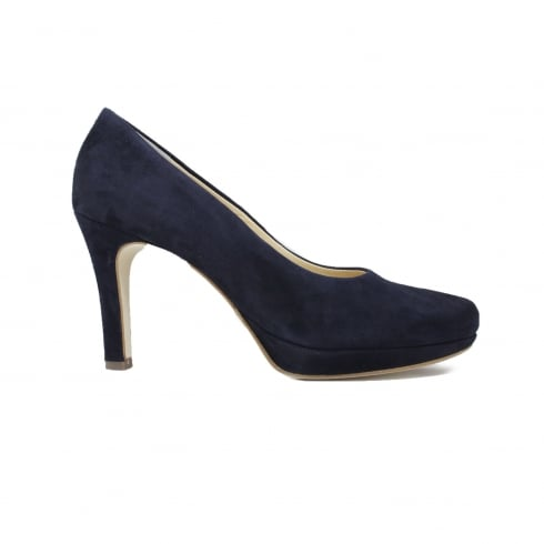 Paul Green 2834-42 Navy Nubuck Leather Womens Slip On Stiletto Heel Court Shoe
