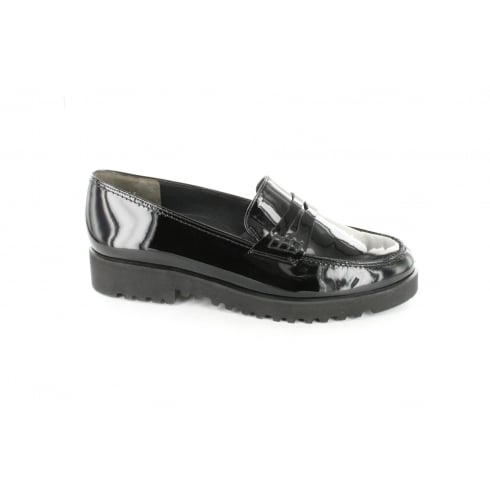 PAUL GREEN 3142-31 Black Patent Leather Womens Slip On Loafer Shoe