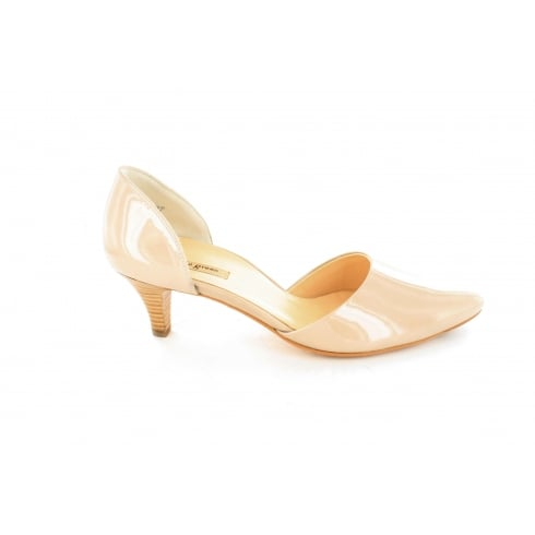 Paul Green 3378-06 Nude Patent Leather Womens Slip On Heeled Shoe
