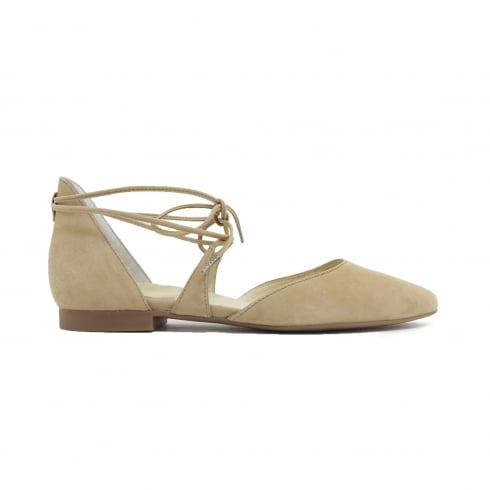 3399-14 Tan Suede Leather Womens Lace Up Dainty Shoe