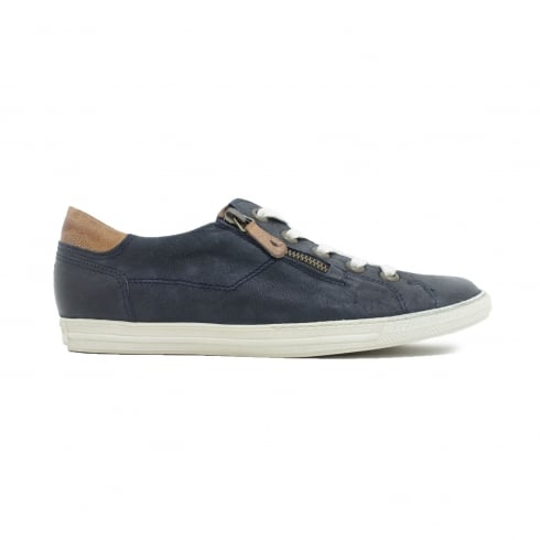 Paul Green 4128-04 Navy Leather Womens Lace/Zip Up Casual Trainer Shoe