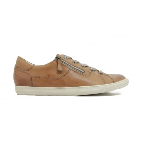 Paul Green 4128-21 Tan Leather Womens Lace/Zip Up Casual Trainer Shoe
