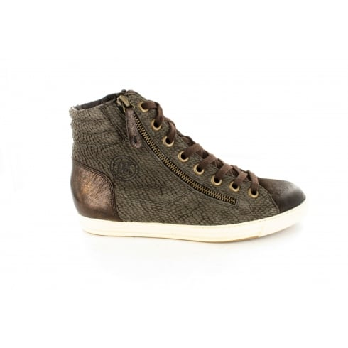 Paul Green 4213-11 Metallic  Brown Brushed Leather Womens Lace/Zip Up Ankle Trainer Boot - UK 4½