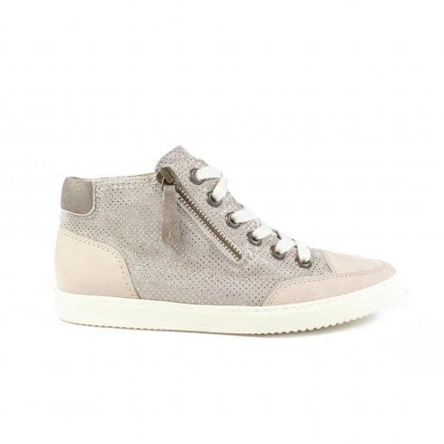 Paul Green 4242-12 Sand Leather Womens Lace/Zip Up Trainer Boot - UK 5