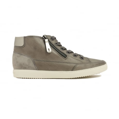 Paul Green 4242-39 Grey Leather Womens Lace/Zip Up Casual Trainer Boot - UK 6
