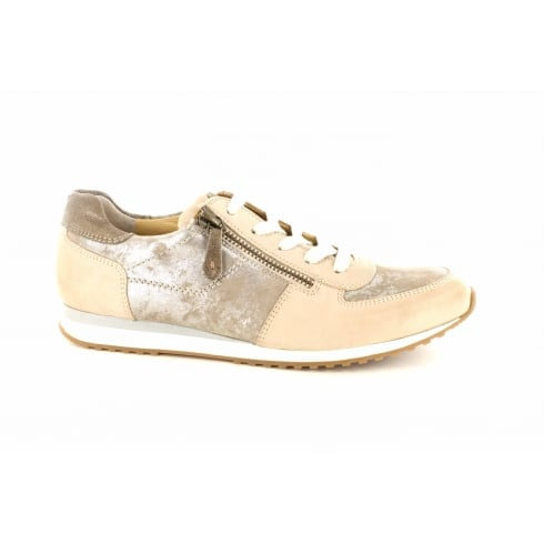 Paul Green 4252-01 Beige Leather Womens Lace/Zip Up Casual Trainer Shoe