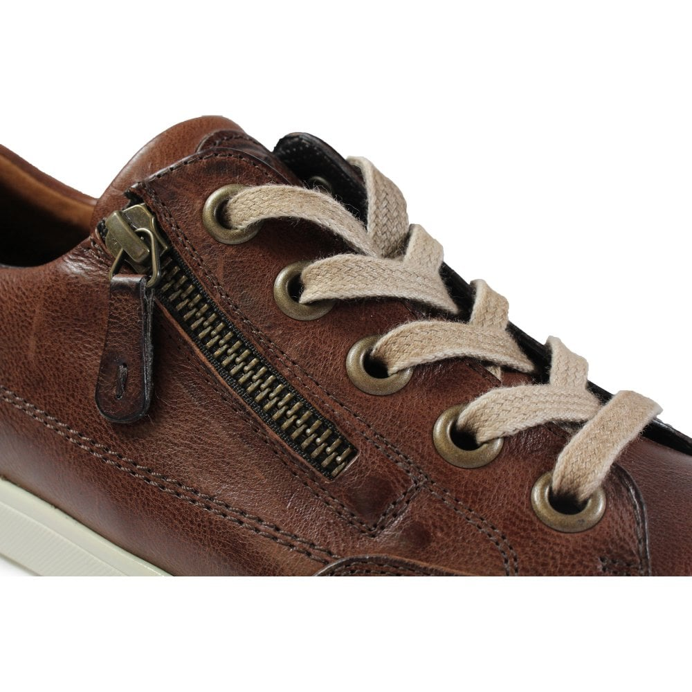 5707f62f4939 ... Paul Green 4294-40 Brown Leather Womens Lace Zip Up Casual Trainer Shoe  ...