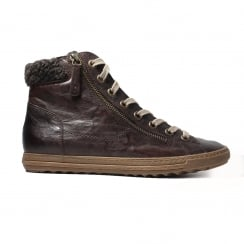 4321-07 Brown Leather Womens Winter Casual Trainer Boot