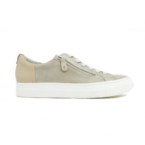 Paul Green 4512-00 Beige Suede Leather Womens Lace/Zip Casual Trainer Shoe