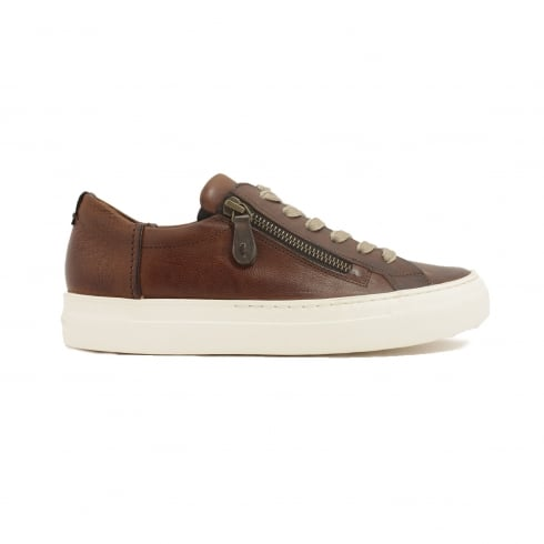 Paul Green 4512-09 Brown Leather Womens Lace/Zip Up Casual Trainer Shoe