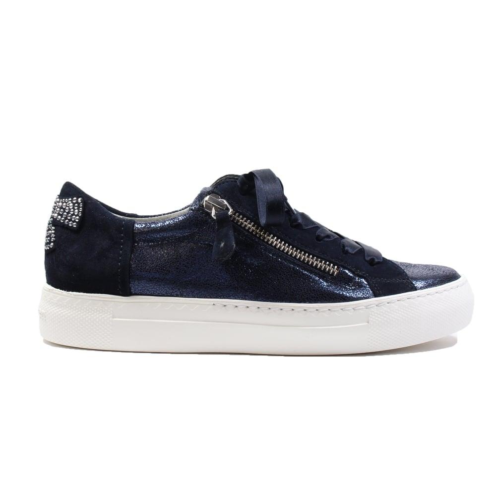 wie man wählt heißer Verkauf online Luxus kaufen 4594-01 Blue Leather Womens Ribbon Lace/Zip Up Casual Trainer Shoes