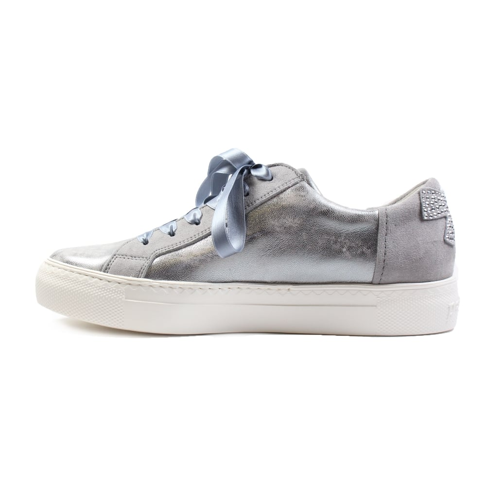 Silver Leather Womens Ribbon Lace/Zip