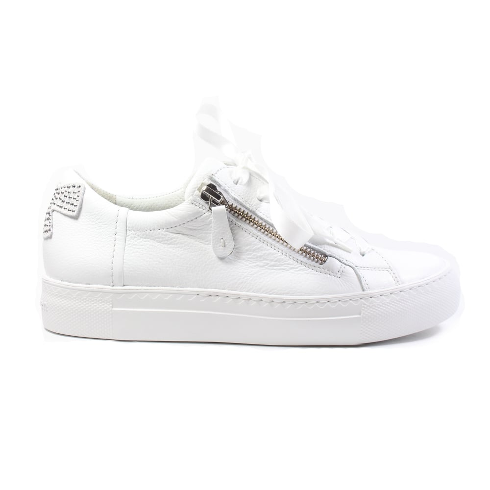 neue Produkte für toller Wert näher an Paul Green 4594-03 White Leather Womens Ribbon Lace/Zip Up Casual Trainer  Shoe