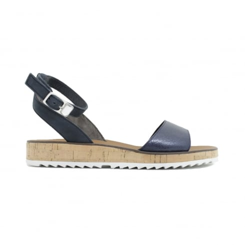 Paul Green 6088-00 Navy Nubuck Leather Womens Ankle Strap Sandals