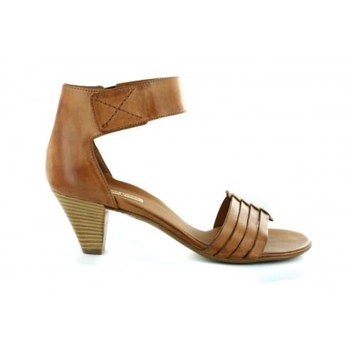 Paul Green 6386-04 Tan Leather Womens Heeled Ankle Strap Sandal