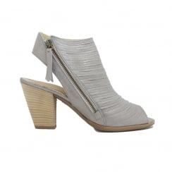 6482-01 Smoke Grey Brushed Leather Womens Ankle Strap Sandal