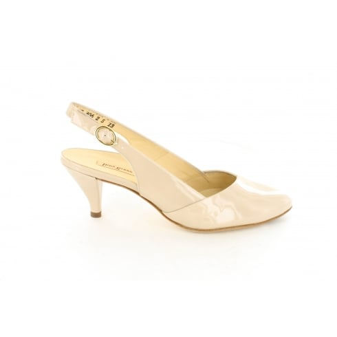 PAUL GREEN 6511-01 Nude Patent Leather Womens Slingback Kitten Heel Shoe