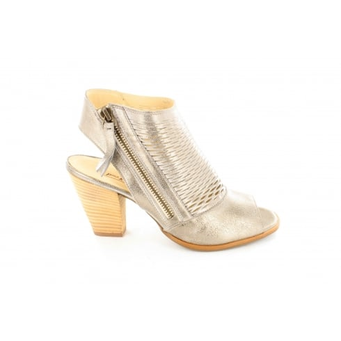 PAUL GREEN 6568-00 Metallic Silver Leather Womens Ankle Strap Sandal