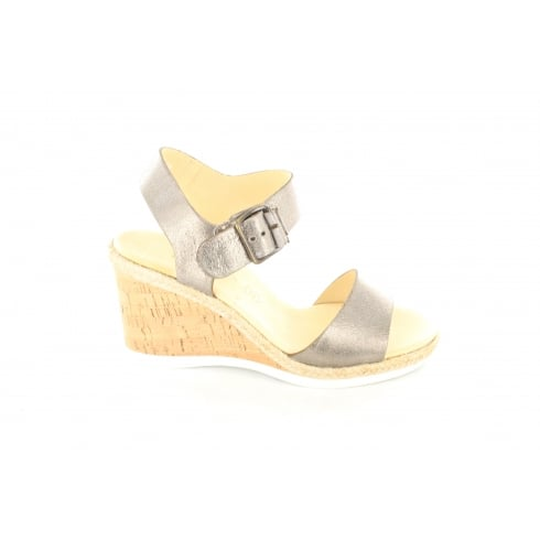 Paul Green 6616-00 Grey Leather Womens Ankle Strap Wedge Heeled Sandal