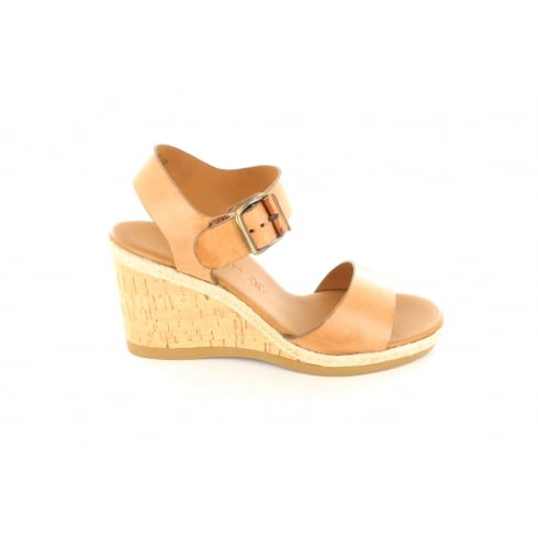 Paul Green 6616-02 Tan Leather Womens Wedge Strapy Sandal