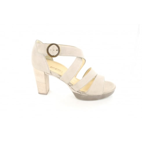 Paul Green 6657-03 Smoke Silver Leather Womens Heeled Strapy Sandal