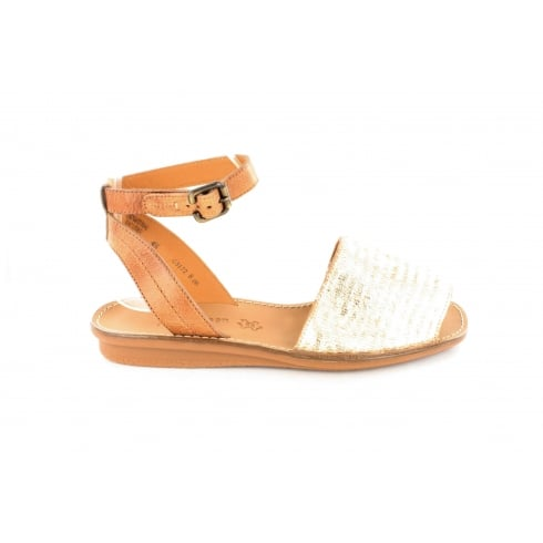 Paul Green 6752-02 Metallic Gold/Tan Leather Womens Ankle Strap Sandal