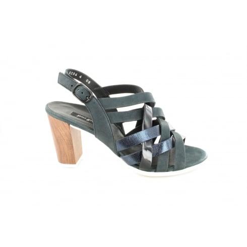 PAUL GREEN 6753-00 Navy Patent/Nubuck Leather Womens Slingback Strapy Heeled Sandal