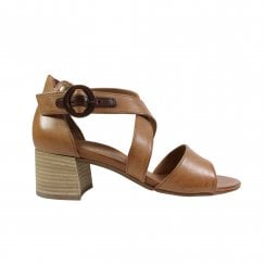 7404-01 Tan Leather Womens Heeled Sandals