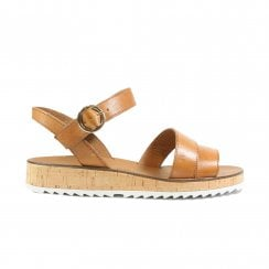 7496-00 Brown Leather Womens Ankle Strap Sandals