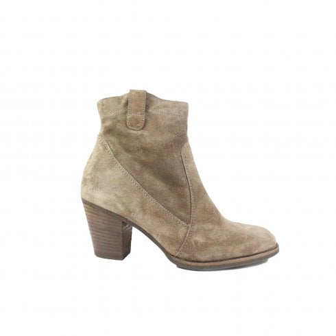Paul Green 8002-01 Earth Suede Leather Womens Heeled Ankle Boot