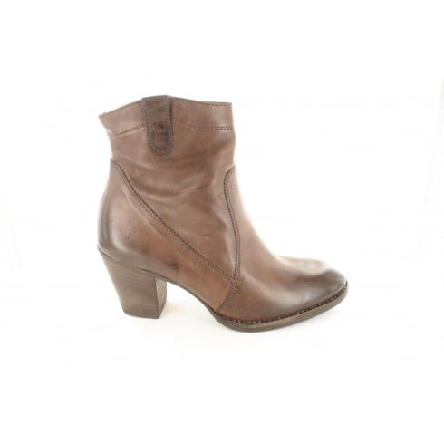 Paul Green 8002-05 Brown Suede Leather Womens Heeled Ankle Boot